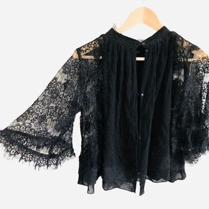 ZARA cropped lace top black swing sleeves